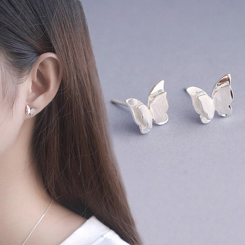 Sterling Silver Korean Fashion Personality Earrings Earrings Eomens Synthetic Crystal Creative Simple Cute Butterfly Earrings