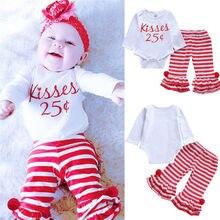 f0e37f4e4 Pudcoco otoño recién nacido bebé niñas conjunto de ropa de algodón besos de  manga larga mameluco pantalones de rayas bebé chica .