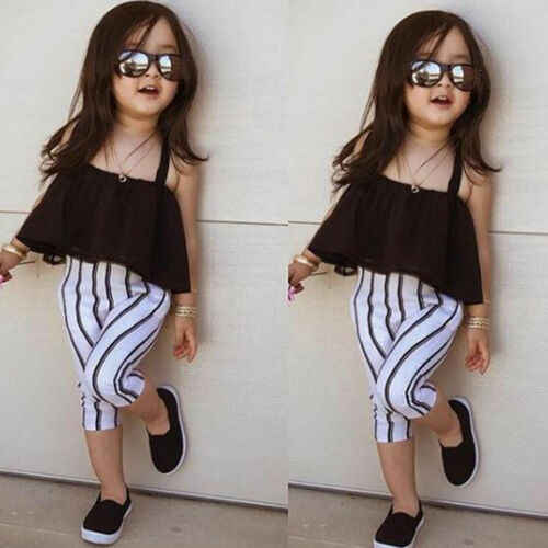 Kids Toddler Girls Big Bow Top T-shirt Striped Pants Leggings Outfit Clothes Set
