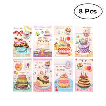 8 Pcs Delicate Creative Cute Simple Birthday Card 3D Stereo Cake Greeting Cards Postcards Gift Christmas