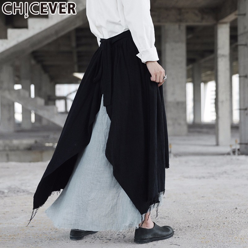 CHICEVER Vintage Patchwork Tassel Female Midi Skirt Women Loose Big Size High Waist Asymmetrical Autumn Skirts Fashion Casual