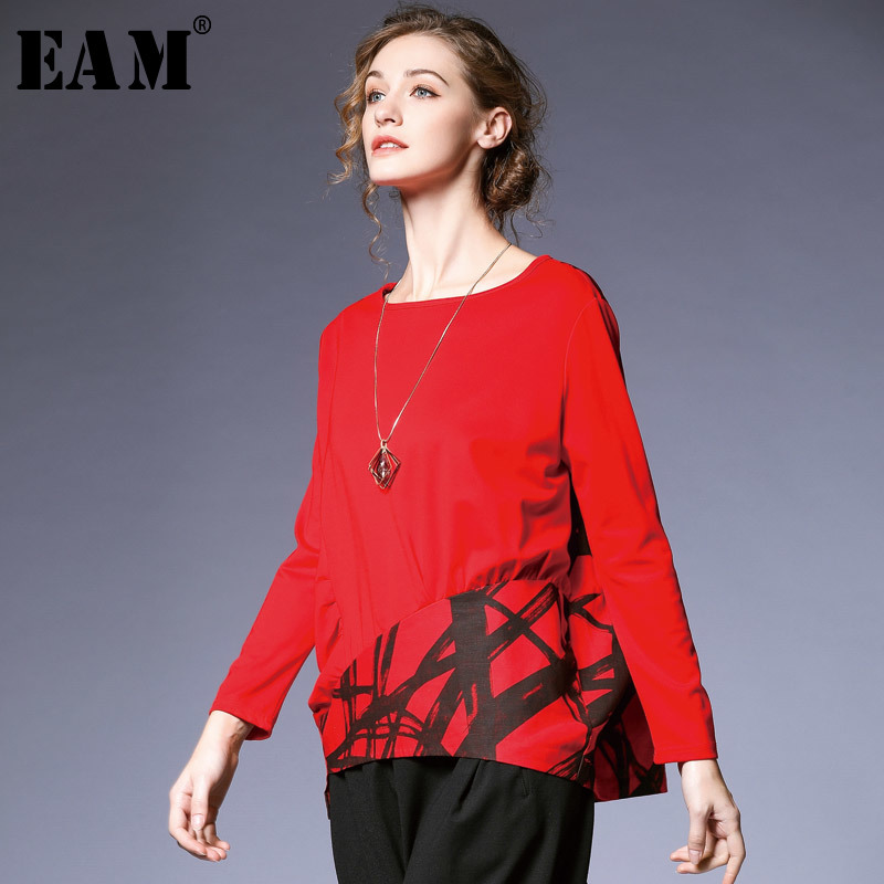 [EAM] 2019 New Spring Summer Round Neck Long Sleeve Black Hit Color Loose Big Size Pattern Printed T-shirt Women Fashion JQ083