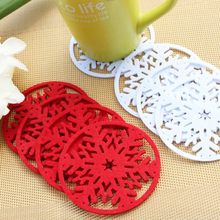 10pcs Lot Snowflakes Cup Pad Mat Non Woven Fabric Dinner Party Dish Tray Coffee Pads Home Christmas Decorations