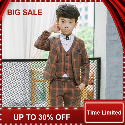 new child suits British Style plaid boys blazers Sets Vest Pant 4-piece Kid Clothing Sets flower girl formal dress