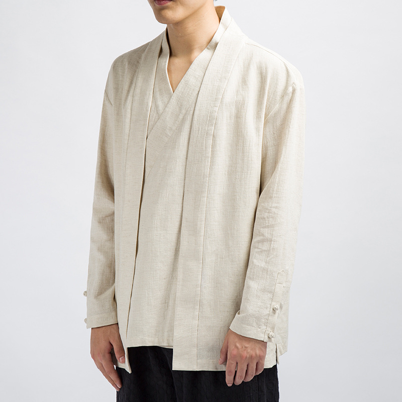 #4349 Casual Vintage Fake Two Piece V-neck Cotton Linen Coat Men Kimono Jacket Chinese Style Loose Plus Size 4XL White/Black