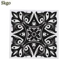 Self-adhensive Waterproof PVC Black Flower Wall White Ceramic Tile Durable DIY Sticker Square Floor(China)