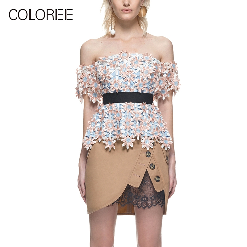 Sexy Slash neck Self Portrait Designer Tops 2019 Summer Strapless Flower Lace Blouses Womens High Quality