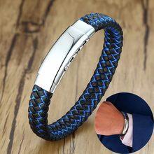 13db0c336f87 Personalizado grabado caballeros de la delgada línea azul trenzado de los  hombres de cuero pulsera ajustable