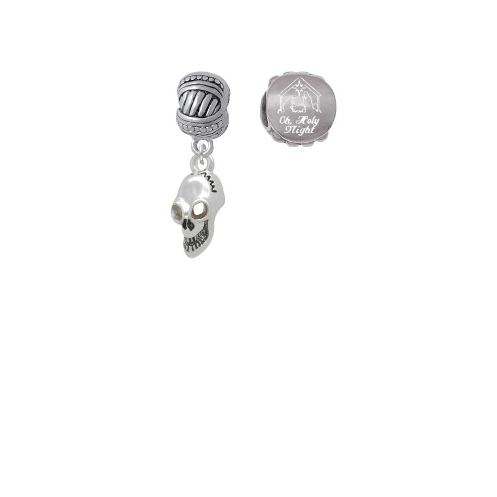 Silvertone Medium Skull Come Let us Adore Him Charm Beads (набор из 2)| |