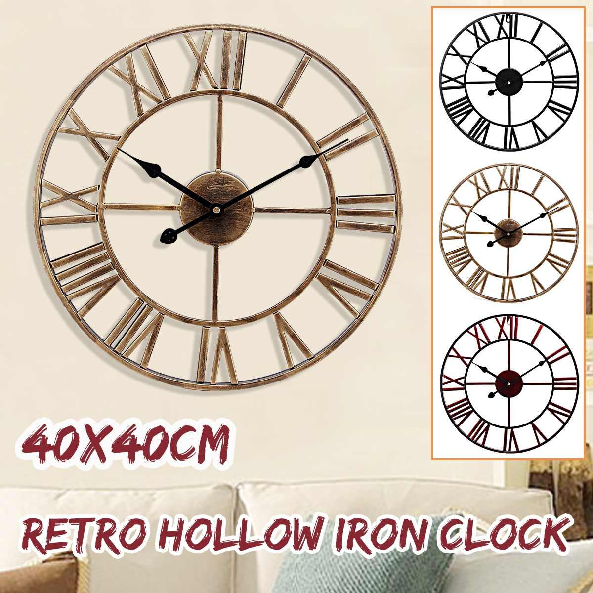 Decorative Wall-Clock Retro Vintage Roman Large Home-Crafts Wrought Iron The Hollow 3D title=