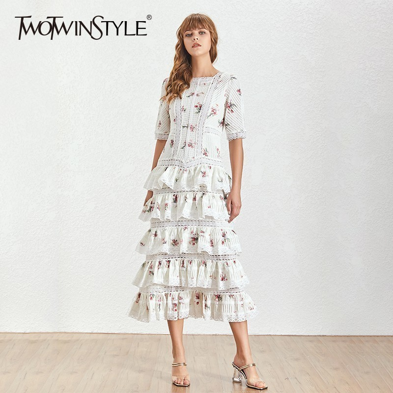 TWOTWINSTYLE Hollow Out Patchwork Print Party Dress Women Short Sleeve High Waist Midi Dresses Female 2019 Casual Fashion Tide