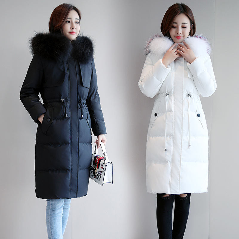 thick warm women's coat down jacket long duck down parka large fur collar  Korean slim winter tops 2018 new fashion black white
