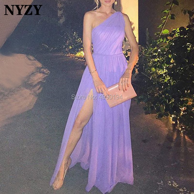 NYZY E66 Elegant Lilac Chiffon Dress Evening High Leg Cut Slit Occasion Dresses for Women Robe Soiree vestidos 2019