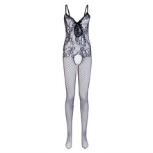 Buy Sexy Lingerie Fishnet Bodystocking Women Crotchless Black Open Crotch Bodysuits Nightwear Solid Womens Bodysuit
