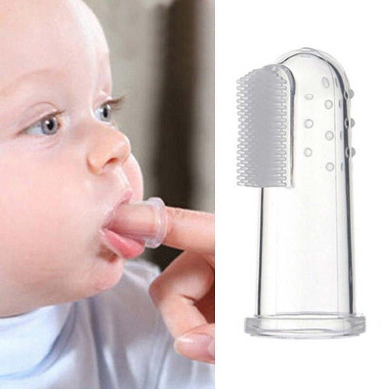 Baby Finger Soft Silicone Toothbrush Teether Teeth Infant Toddler Gum Massager