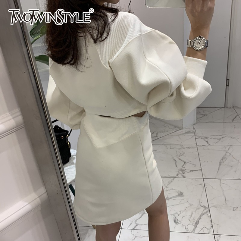 TWOTWINSTYLE Korean Sweatshirt Dresses Female Puff Long Sleeve Hollow Out Mini Dress Women Plus Thick Fashion 2018 Autumn New