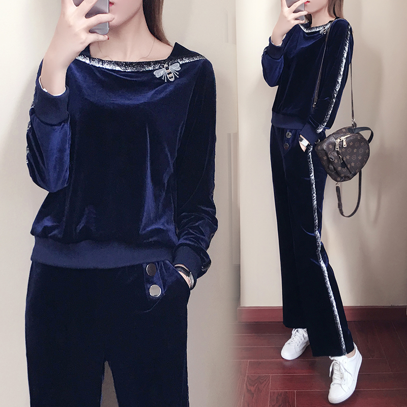 Tracksuit For Women 2018 Autumn New Fashion Stitching Long Sleeve Top + Pant Sporting Suit Two Piece Set Plus Size