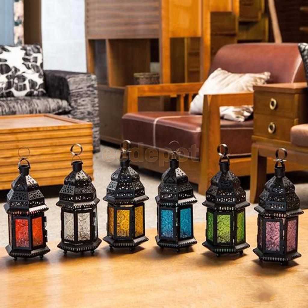 Moroccan Style Black Lantern Tea Light Candle Holder Tabletop Decoration