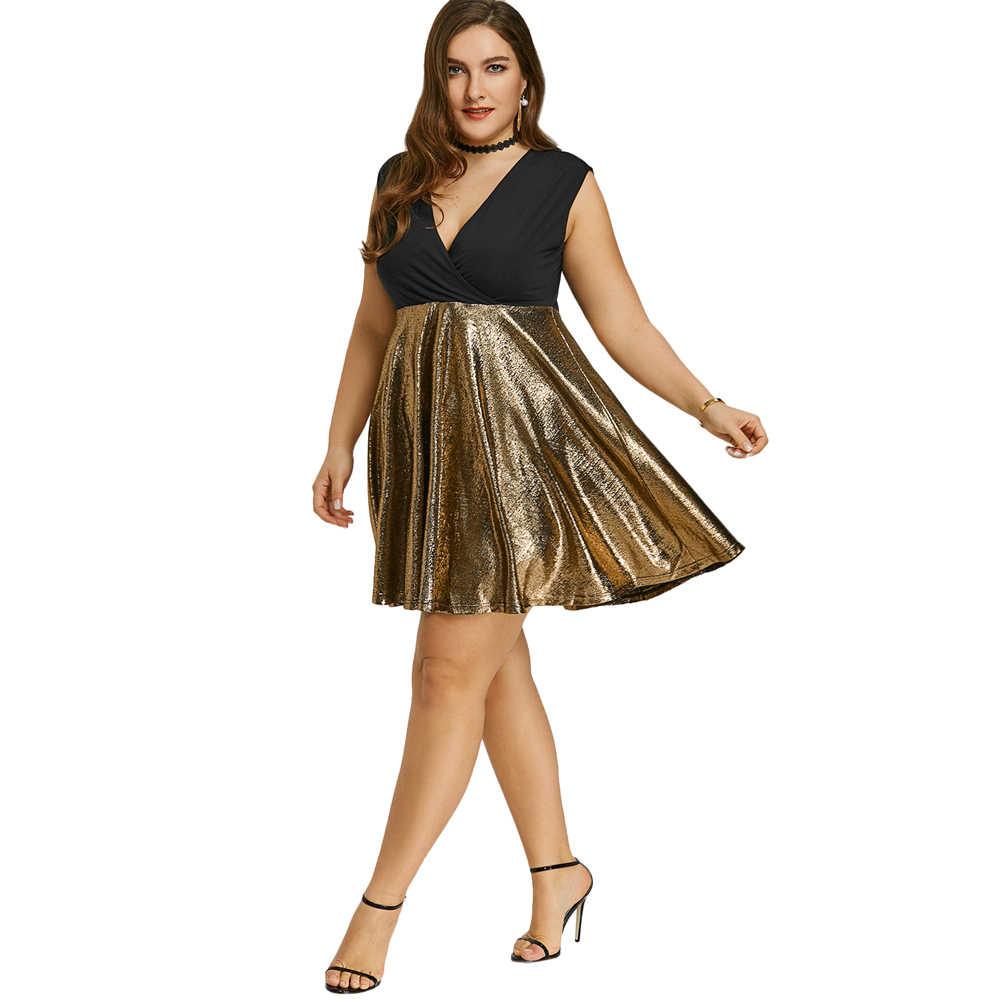 Kenancy Plus Size Glitter Surplice Party Dress Sleeveless Deep V-Neck  Spliced Summer Women A dc7706f55345