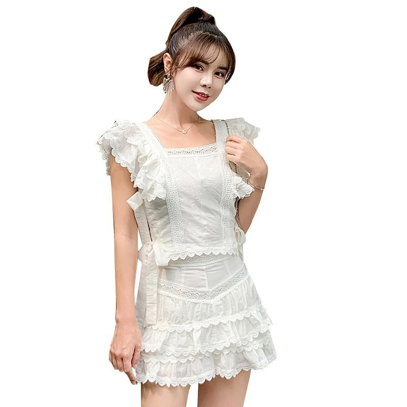 2019 Summer Sexy Hollow Out Embroidery Lace Skirt pant Suits Fashion Ruffles Short Sleeve Top+white Mini skirt pant 2 Piece Set