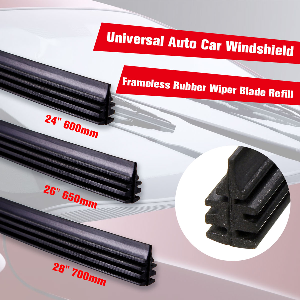 "2 PCS Universal 28"" 26'' 24''  700mm 650mm 600mm  Car Rubber Frameless Windshield Wash Wiper Blade Cut To Size  Car Accessories(China)"