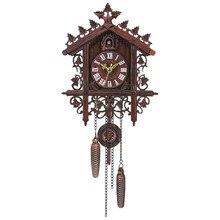 Vintage Wood Cuckoo Wall Clock Hanging Handcraft Clock for Home Restaurant Unicorn Decoration Art Vintage Swing Living Room(China)