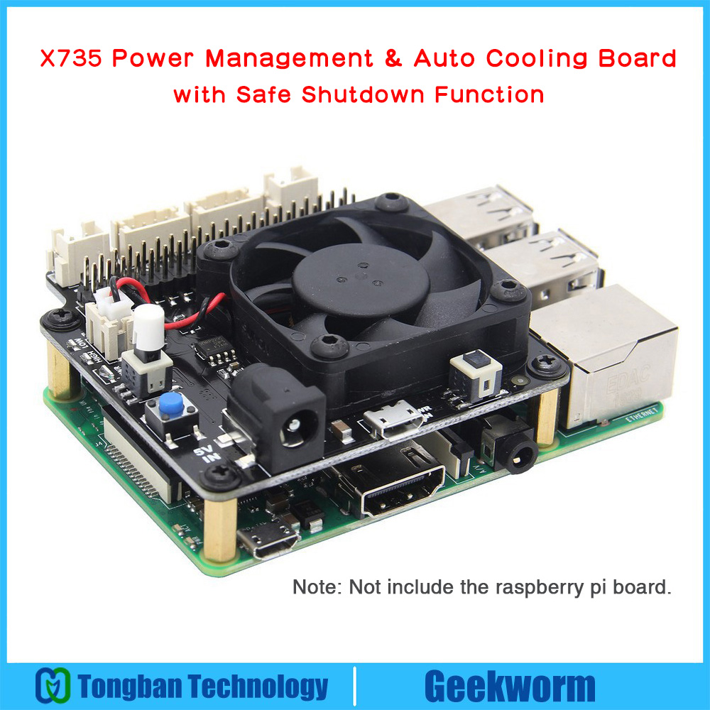 Raspberry Pi X735 Power Management & Auto Cooling Expansion Board with Safe Shutdown for Raspberry Pi 3B+(plus) /3B / 2B+