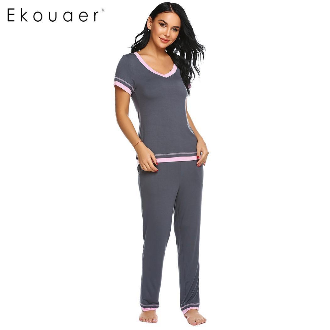 Women Casual Solid V Neck Satin Cami Pajama Sets Long Pants Silk WST