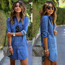 Womens Autumn Fashion Brief Solid Turn Down Neck Button Blue Jeans Denim T-Shirt Long Sleeve Casual Loose Shirt Short Dress(China)