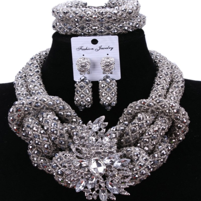 Silver Owl Sexy Fashion Jewelry Set African Beads Nigeria Wedding Jewelry Turkey Necklace And Earrings 2018 Free Shipping New