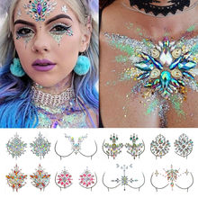 Acrylic Chest Decoration Crystal Diamond Tattoo Drill Paste Resin Face Stick Drill Music Festival Rhinestone Stickers(China)