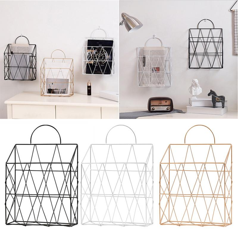 Bathroom Shelves Simple Wrought Iron Tabletop Metal Newspaper And Debris Decoration Storage Basket Hangable Portable Rack Bathroom Hardware