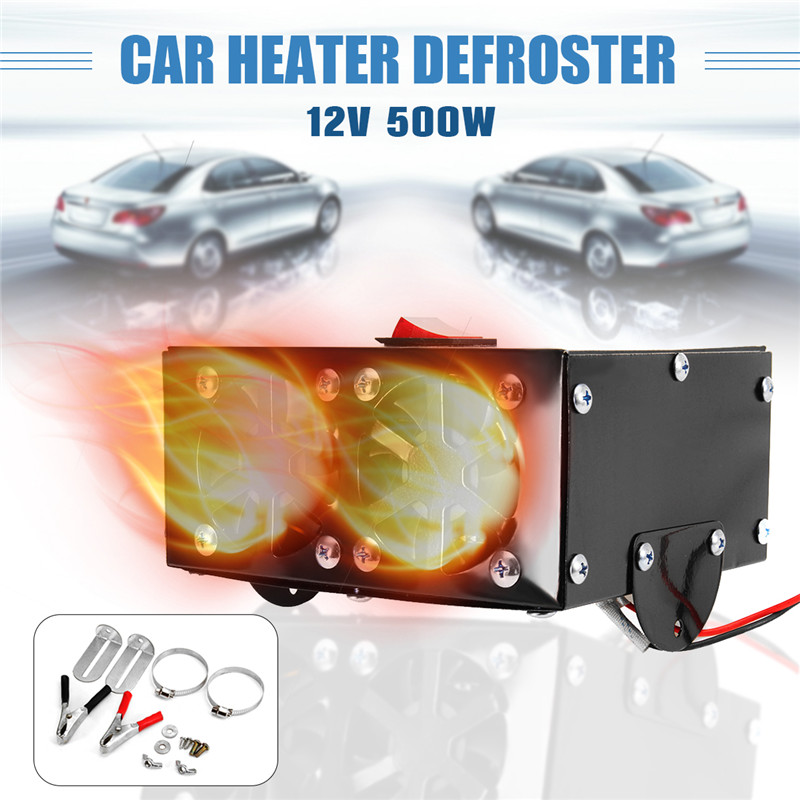 Portable 2hole 12V 600W Car Vehicle Fan Heater Heating Warmer Demister Universal
