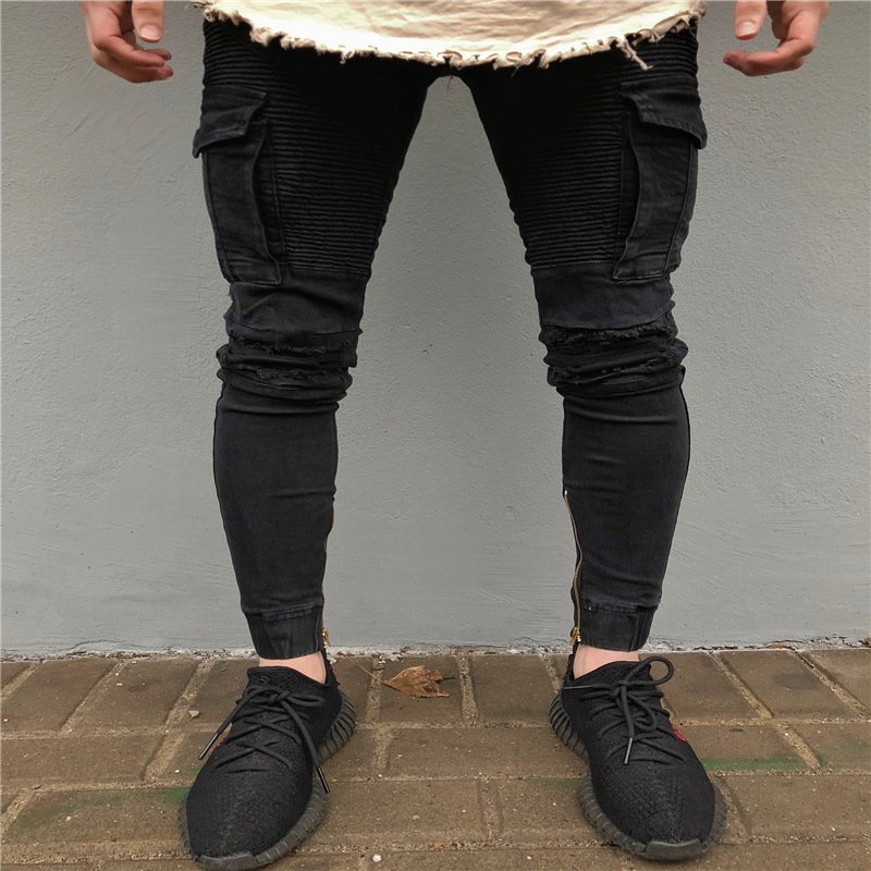 Jeans for Men Top Brand 2019 Spring Summer Skinny Stretch Denim Pants Distressed Ripped Freyed Slim Fit Jeans O8R2