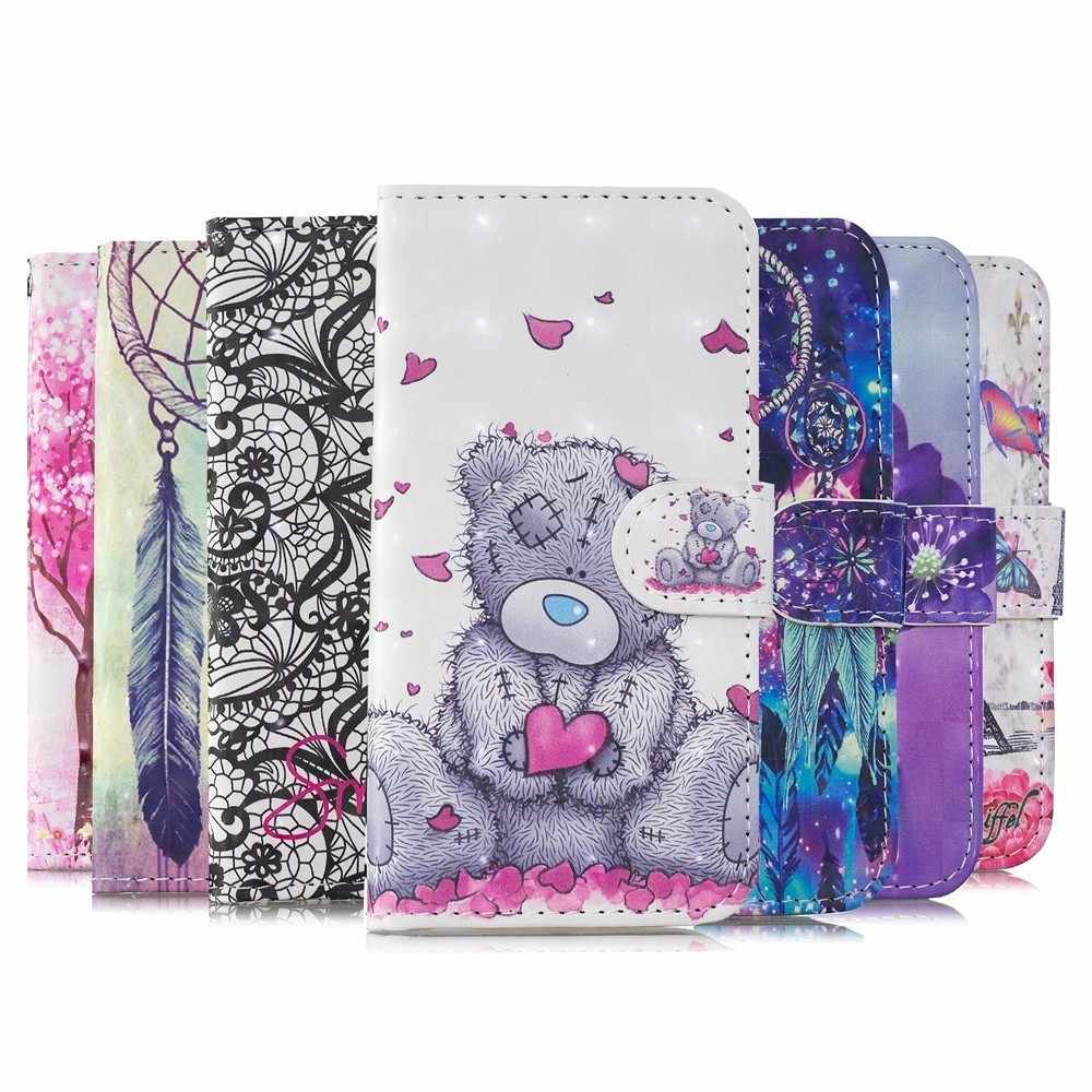 Case For Huawei Nova 2i 3e 3i P Smart Plus Y5 Y6 Y7 2018 Honor 7A Pro Book Flip Phone Cover Card Slot 3D Painted Wallet Leather