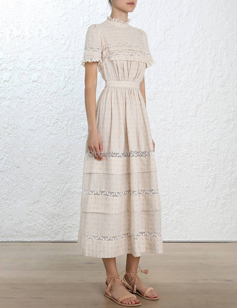 High-end Linen & Cotton Lace Patchwork Beach Dress - Ladies Helm Dot Long Dress Features With Gathering Waist