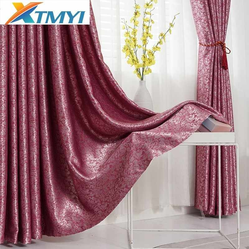 shading jacquard blackout windows curtain bedroom or Living Room Window Modern Fabric Curtains