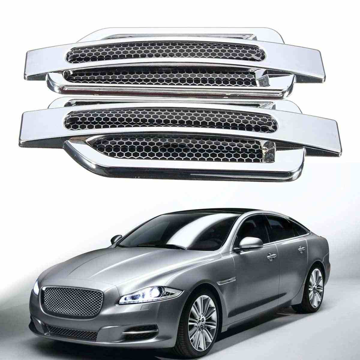 Universal Pair Car Side Air Flow Vent Cover Intake Decoration Stickers Side Mesh Cover Hood Bonnet Car Styling