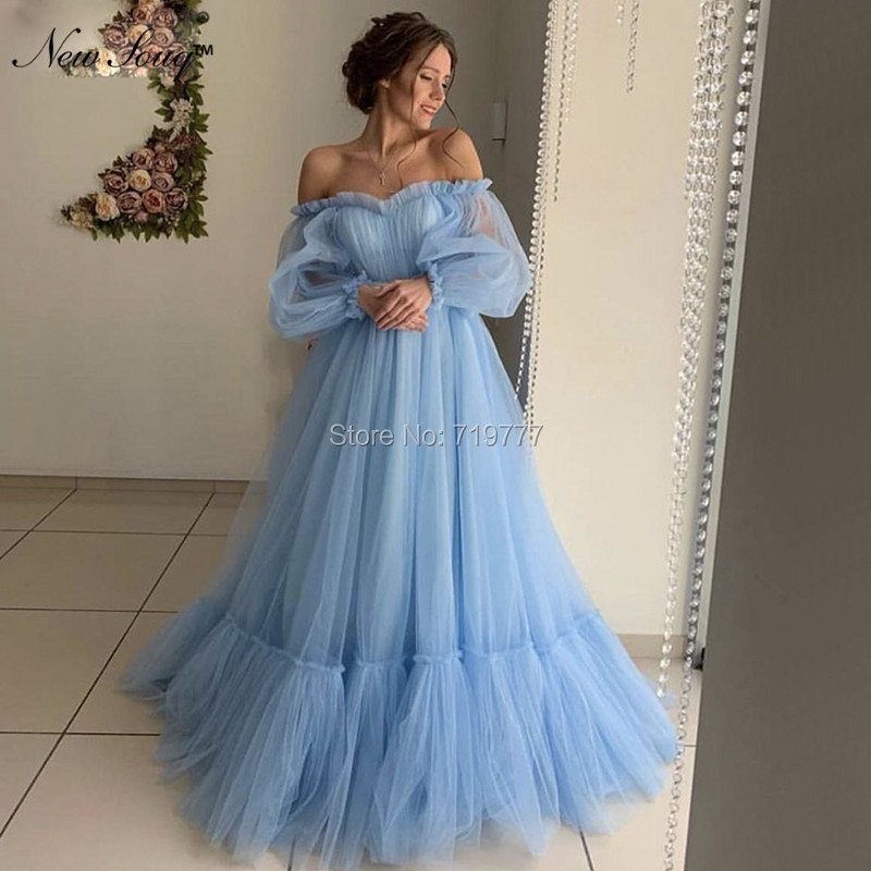 Blue Off Shoulder Evening Dresses Arabic Couture Prom Dress 2019 Celebrity Party Dress Prom Gowns Kaftan Pregnant Women Dress