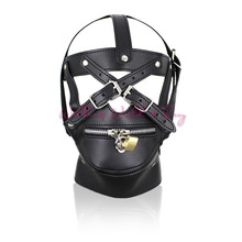 Buy Adult Game Sex Toys Zipper Mouth Latex Pu Leather Mask Fetish Slave Sex Mask Bondage Hood Lock Sex Products Couples