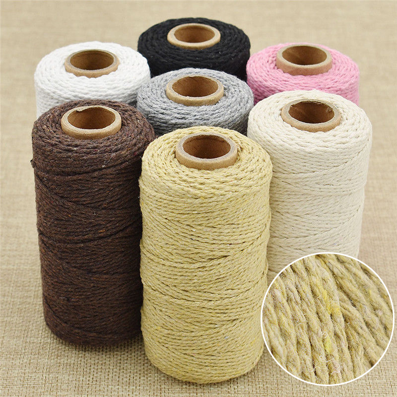 3//4mm Macrame Rope Colorful Cotton Twisted Cord Artisan String DIY Hand Craft
