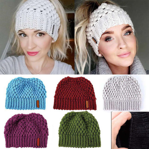 HIRIGIN Fasion Women Beanie Ponytail Hat Bun Knitted Cap Skull Stretchy Winter Warm Hats(China)