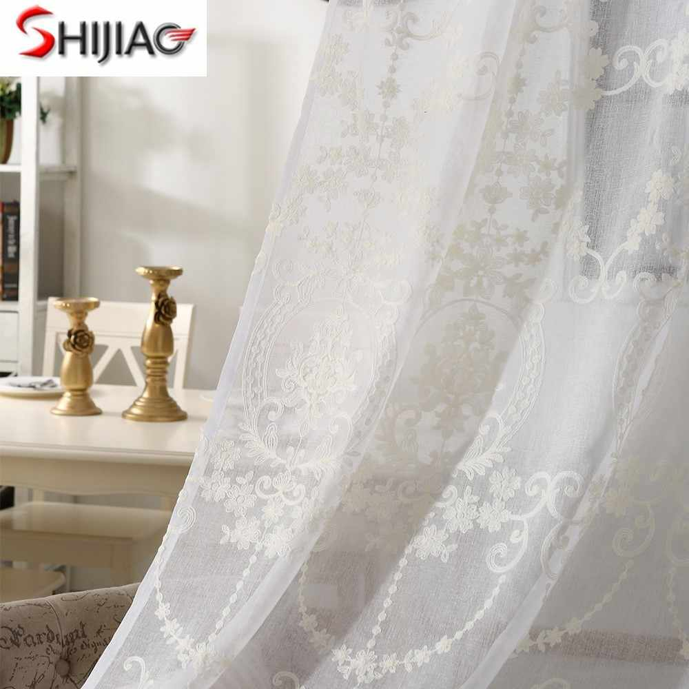 European and American style white Curtain Window Tulle Curtains For Living Room Kitchen Modern Window