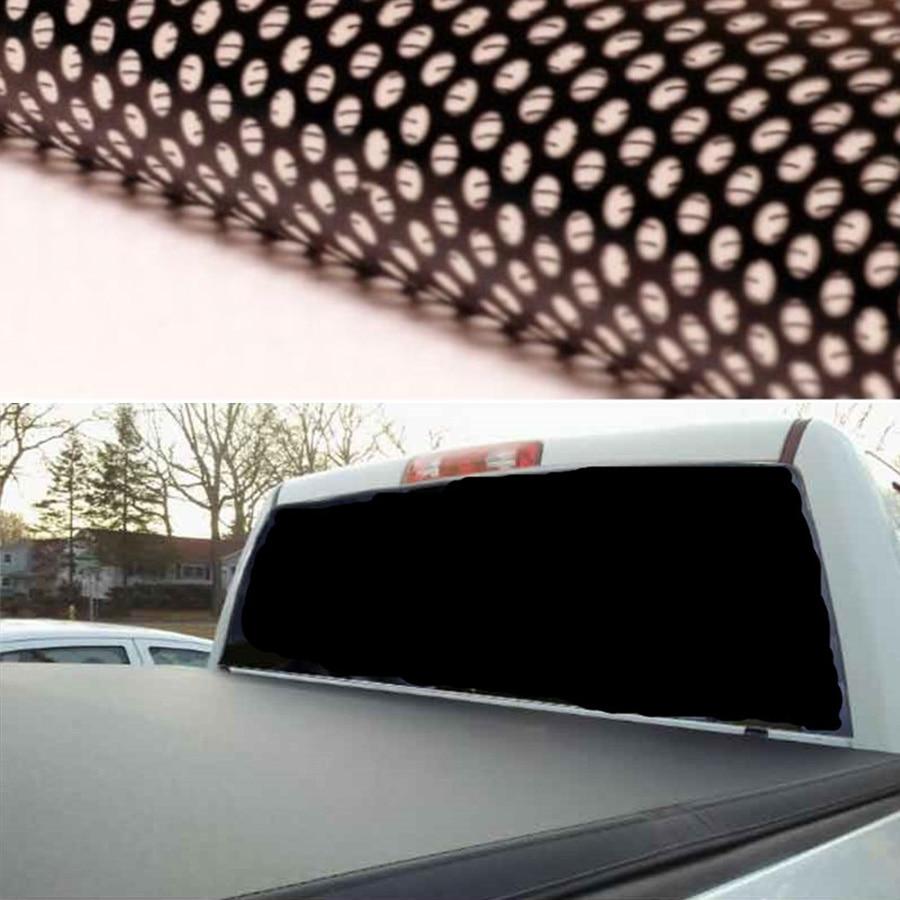Plain Black Rear Window Perforated Decal Tint Graphic Sticker Truck Van Suv