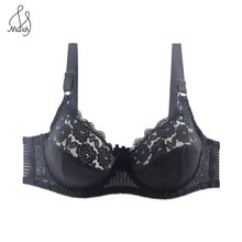 Buy Maidy Sexy Bra Women Lace Thin Underwear Bralette Unlined Bras Striped Breathable Adjusted Brassiere Lingerie Plus Size 38D-48D