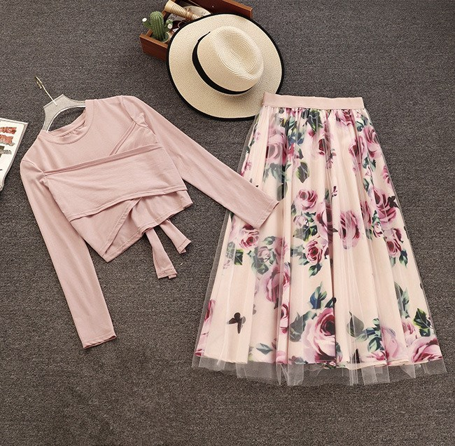 2018 Fashion Women Floral Print Two Piece Sets Sweet Cross Bowknot Crop Tops And Long Skirts Mesh Outfits