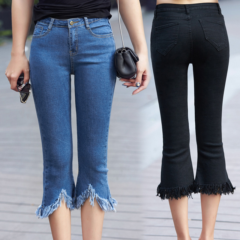 Casual Plus Code Calf Length Jeans Ladies 2019 Autumn New Fashion Fat MM200 Elastic Body Repair Frill Tassel Jeans Shorts G3P7