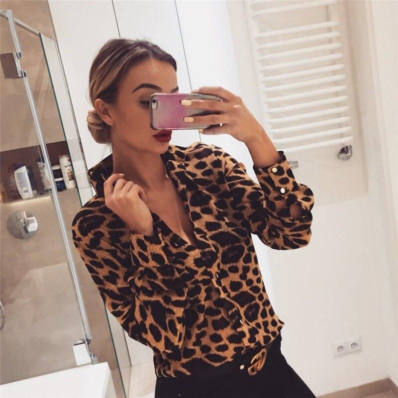 Tops & Tees Womens Leopard V-neck Print Long Sleeve Shirt Casual Fashion Womens Turtleneck T-shirt Oversized Loose Top