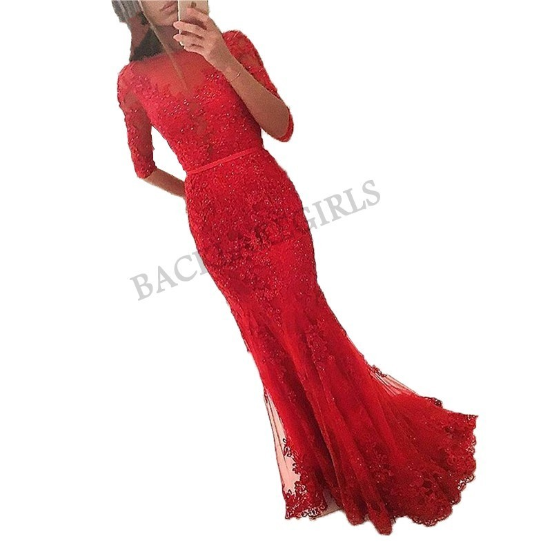 Abiye gece elbisesi Elegant Long Red Evening Dresses Half Sleeve Tulle Lace Evening Women Formal Gown Cheap