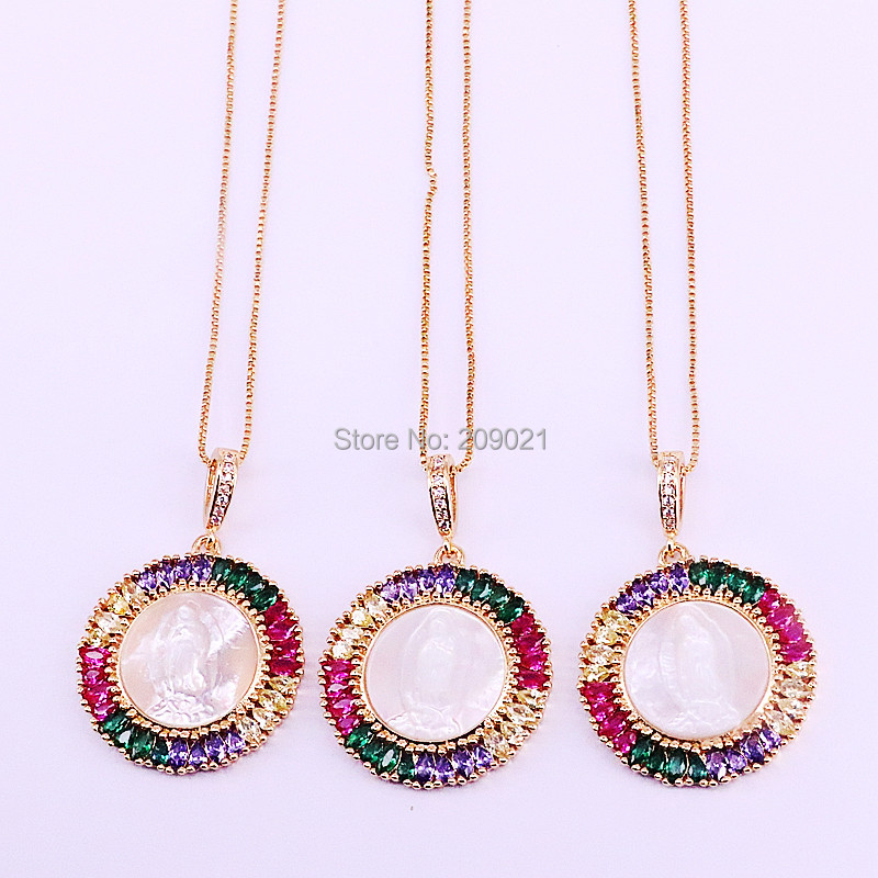 5Pcs Gold Colors Pave Rainbow Cubic Zirconia And Shell Round Pendant Women's Fashion Jewelry necklaces